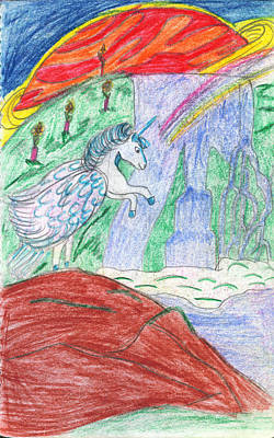 Super Dog Drawing - Planet Pegasus by Kd Neeley