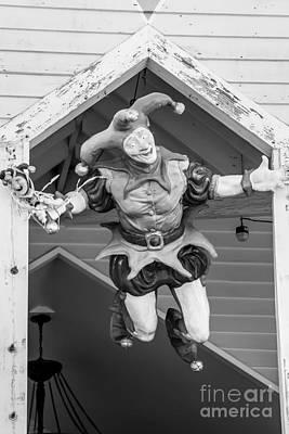 Flying Jester Duval Street Key West - Black  And White Art Print