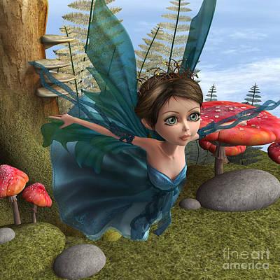 Digital Art - Flying Little Fairy Butterfly by Design Windmill