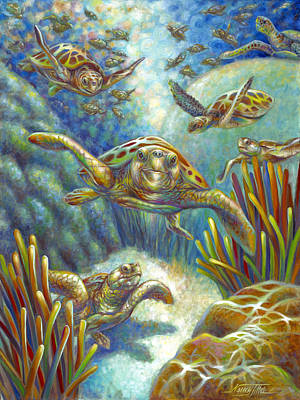 Brain Coral Painting - Flying Loggerhead Turtles by Nancy Tilles