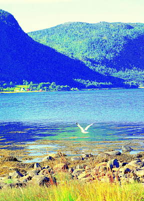 Seagull Flying Low, Mountains Standing Tall  Art Print by Hilde Widerberg