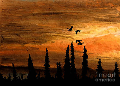 Copper Sunset Mixed Media - Flying Low by R Kyllo