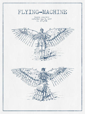 Icarus Drawing - Flying Machine Patent Drawing From 1889- Blue Ink by Aged Pixel