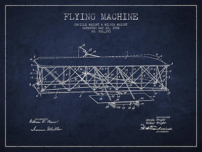 Airplane Digital Art - Flying Machine Patent Drawing From 1906 by Aged Pixel