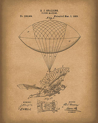 Drawing - Flying Machine Spalding 1889 Patent Art Brown by Prior Art Design
