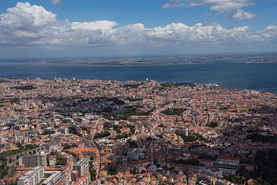 Valentines Day - Flying Over Lisbon Portugal by Georgia Mizuleva