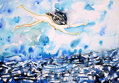 Seastorm Painting - Flying Over Troubled Waters by Fabrizio Cassetta