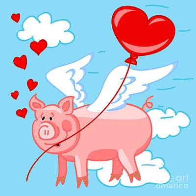 Flying Pig In Love Art Print