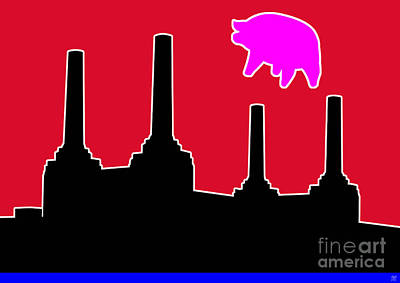 Zoso Digital Art - Pink Floyd Flying Pig Over Battersea by Neil Finnemore