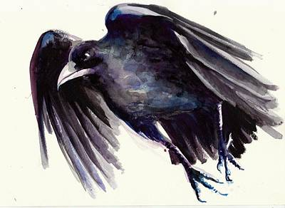 Outdoor Graphic Tees - Flying Raven - Crow Painting by Tiberiu Soos