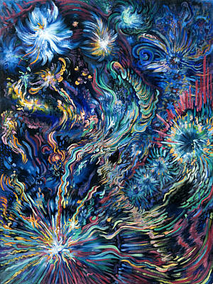 Outer Space Painting - Flying Spirits by Karen Nell McKean
