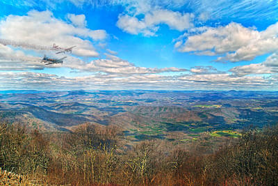 Jet Photograph - Flying The Sky Blue Ridge Parkway by Betsy Knapp