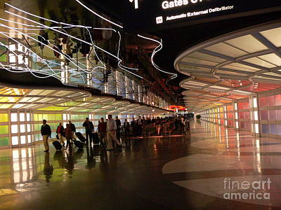 Airport Concourse Photograph - Flying Through Ohare by David Bearden