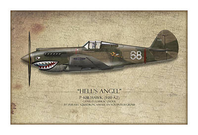 Sharks Painting - Flying Tiger P-40 Warhawk - Map Background by Craig Tinder