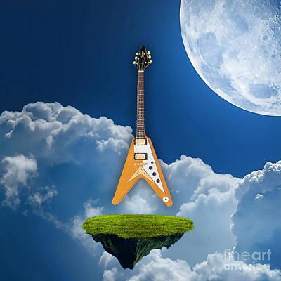Guitar Mixed Media - Flying V Guitar by Marvin Blaine