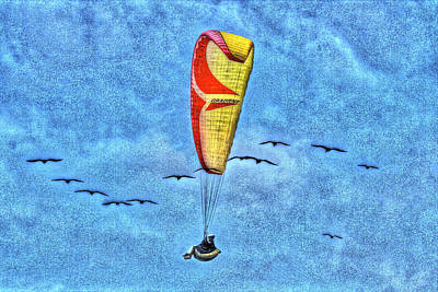Parasailing Photograph - Flying With The Birds by SC Heffner