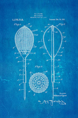 Flynn Merion Golf Club Wicker Baskets Patent Art 1916 Blueprint Art Print by Ian Monk