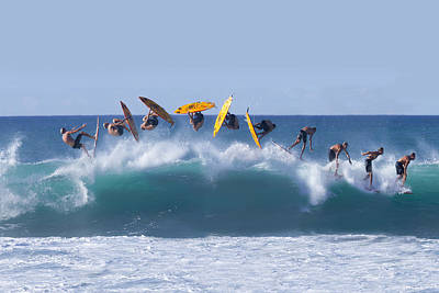 Surfing Art Photograph - Flynnstone Flip by Sean Davey
