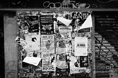 Flyposters Outside A Disused Shop In Barcelona Catalonia Spain Print by Joe Fox