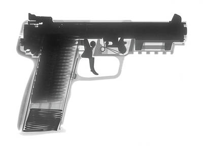 Fn 57 Hand Gun X-ray Photograph Art Print