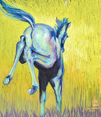 Foal At Play Art Print by Sally Buffington