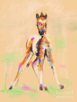 Filly Painting - Foal Cute Fellow by Go Van Kampen
