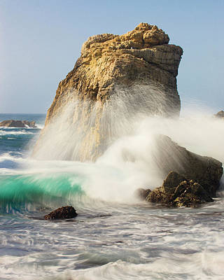 Of Big Sur Beach Photograph - Foam In The Air From Breaking Waves by Tom Norring