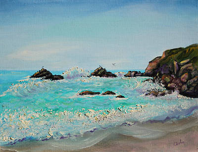 Art Print featuring the painting Foamy Ocean Waves And Sandy Shore by Asha Carolyn Young