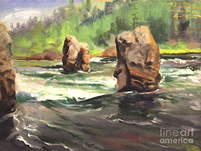 Painting - Floating Boulders Yellowstone River by Art By Tolpo Collection