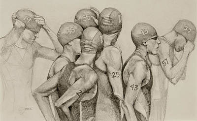 Athletes Drawings - Focus by Jani Freimann