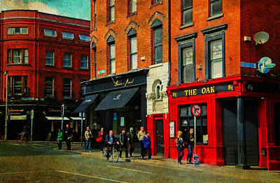 Photograph - Focus On Red. The Oak Pub. Streets Of Dublin. Painting Collection by Jenny Rainbow