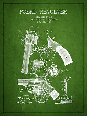 Foehl Revolver Patent Drawing From 1894 - Green Art Print by Aged Pixel