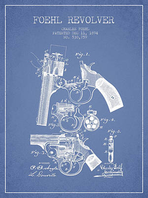 Foehl Revolver Patent Drawing From 1894 - Light Blue Art Print by Aged Pixel