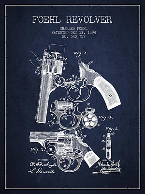 Foehl Revolver Patent Drawing From 1894 - Navy Blue Art Print by Aged Pixel