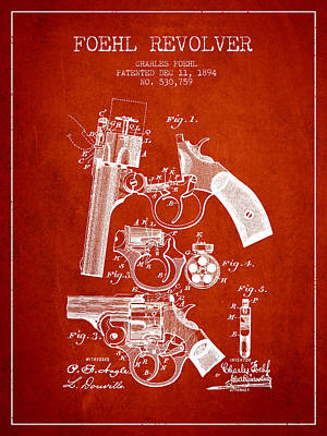 Foehl Revolver Patent Drawing From 1894 - Red Art Print by Aged Pixel