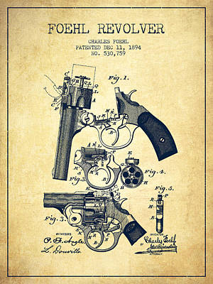 Foehl Revolver Patent Drawing From 1894 - Vintage Art Print by Aged Pixel