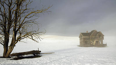 Photograph - Fog And Snow Homestead by Steve McKinzie