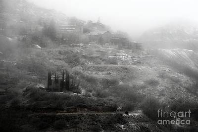 Photograph - Fog And Snow With Powderbox Church In Jerome Az by Ron Chilston