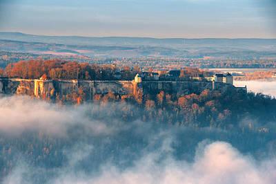 Fog Around The Fortress Koenigstein Art Print