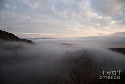 Photograph - Fog At Sunrise In Jerome Arizona With San Francisco Peaks Of Flagstaff In The Distance by Ron Chilston