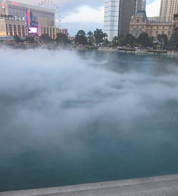 Photograph - Fog Fountain Pond Lake Enjoy Las Vegas by Navin Joshi
