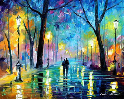 Free Painting - Fog In The Park - Palette Knife Oil Painting On Canvas By Leonid Afremov by Leonid Afremov