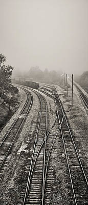 Photograph - Fog In The Rail Yard 2 B/w by Greg Jackson