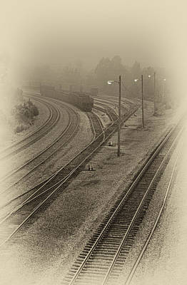 Photograph - Fog In The Rail Yard by Greg Jackson