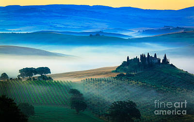 Fog In Tuscan Valley Art Print by Inge Johnsson
