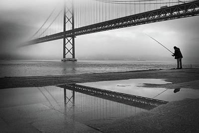 Fog On The Tagus River ! Art Print
