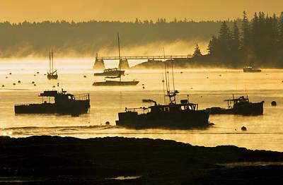 Photograph - Fog Sunrise Southwest Harbor Mount Desert by Keith Webber Jr