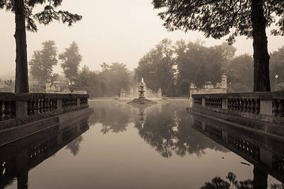 Photograph - Fogged Ruins And Fountain Pond by Scott Rackers