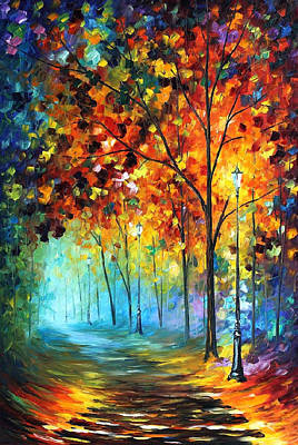 Free Painting - Foggy Alley - Palette Knife Oil Painting On Canvas By Leonid Afremov by Leonid Afremov