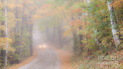 Photograph - Foggy Autumn Back Road by Alan L Graham
